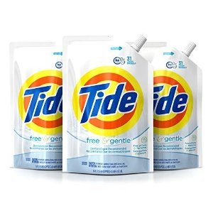 $13.50Tide Liquid Laundry Detergent Smart Pouch, Free & Gentle HE, Pack of three 48 oz. pouches, 93 loads