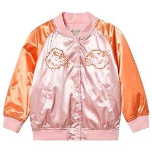 KenzoKids Pink and Orange Satin Tiger Embroidered Bomber Jacket | AlexandAlexa