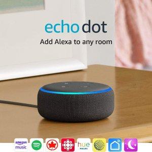 $34.99 (原价$69.99)Echo Dot (第3代) 智能家庭音箱3色选 控制不用手 功能全靠吼