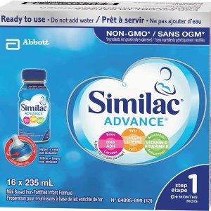 $34.98(原价$46.98)Similac 雅培  Advance 1段配方液体配方奶 16瓶×235ml