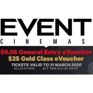$9.95(原价$24)澳洲 Event Cinemas电影院 通用电子票 团购