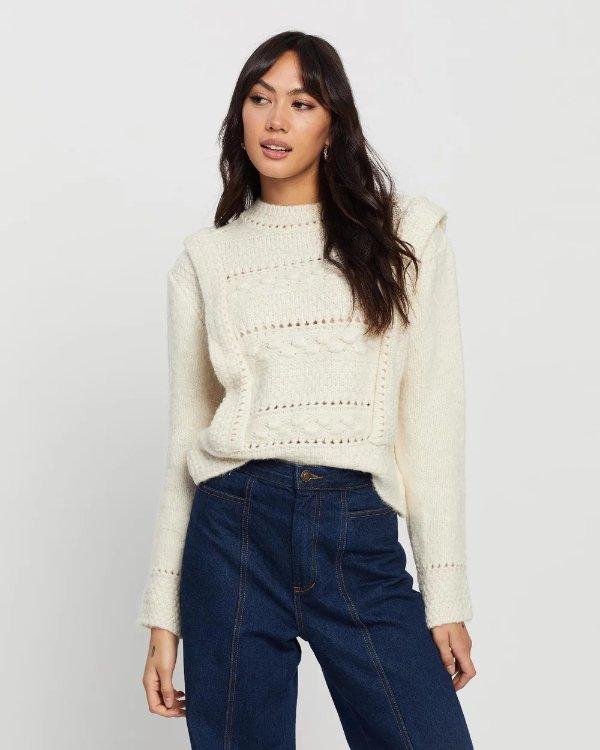 Breis白色针织毛衣