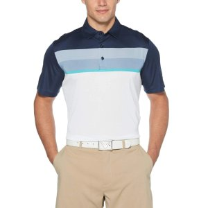 Mens Birdseye Color Block Chest Stripe Polo