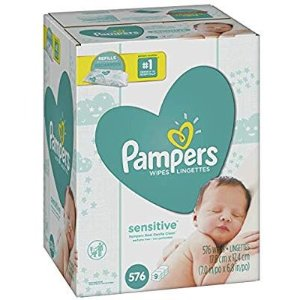 Pampers Sensitive Water-Based Baby Diaper Wipes, 9 Refill Packs for Dispenser Tub - 576 Count @ Amazon