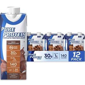 $12.11(原价$19.99)Pure Protein 巧克力蛋白奶昔12瓶  Keto-Friendly 代餐好选择