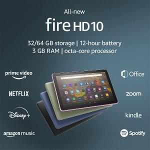 $144.99(原价$199.99)史低价:全新Fire HD 10 平板电脑 无缝衔接Kindle电子书 32G版