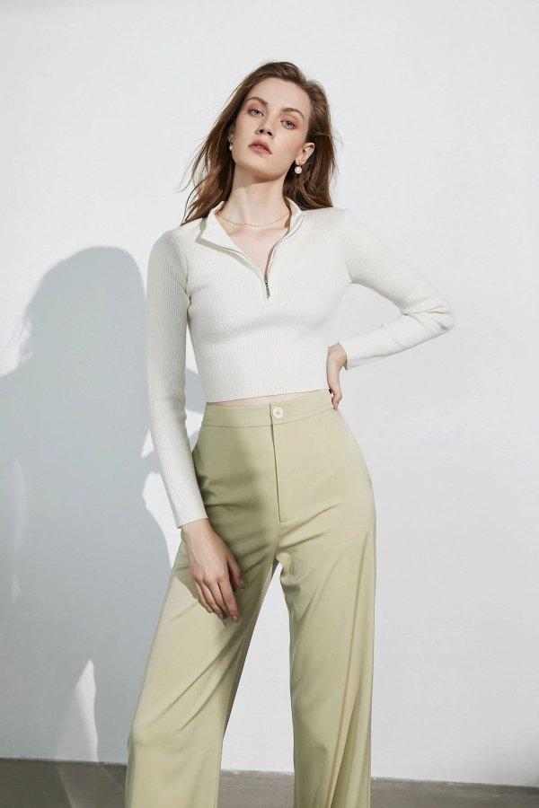 Basic Ivory Zip-Up 毛衣