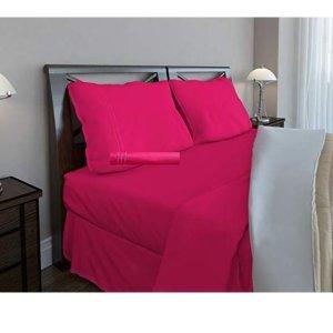 $24.14(原价$65.85)Clara Clark 1800系列粉红色床上用品4件套 - Full尺寸