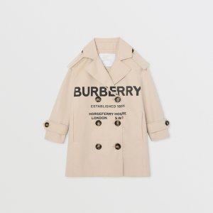 Burberry尺寸建议:身高152cm-12Y 164cm-14Y童款logo风衣