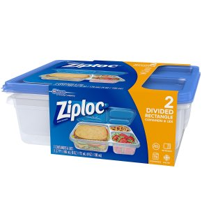 Ziploc Container, Divided Rectangle, 2 Count