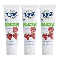 Tom's of Maine 天然防蛀含氟儿童牙膏草莓味 4.2盎司 3支装