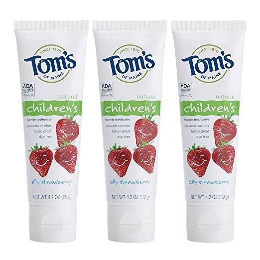 天然防蛀含氟儿童牙膏草莓味 4.2盎司 3支装