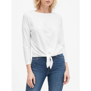 Banana RepublicCropped Tie-Front T-Shirt