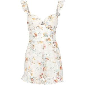 b7419ec3ee ZimmermannRuffled floral-print broderie anglaise cotton playsuit