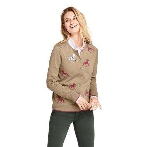 Lands' EndWomen's Supima Cotton Cardigan Pattern Sweater