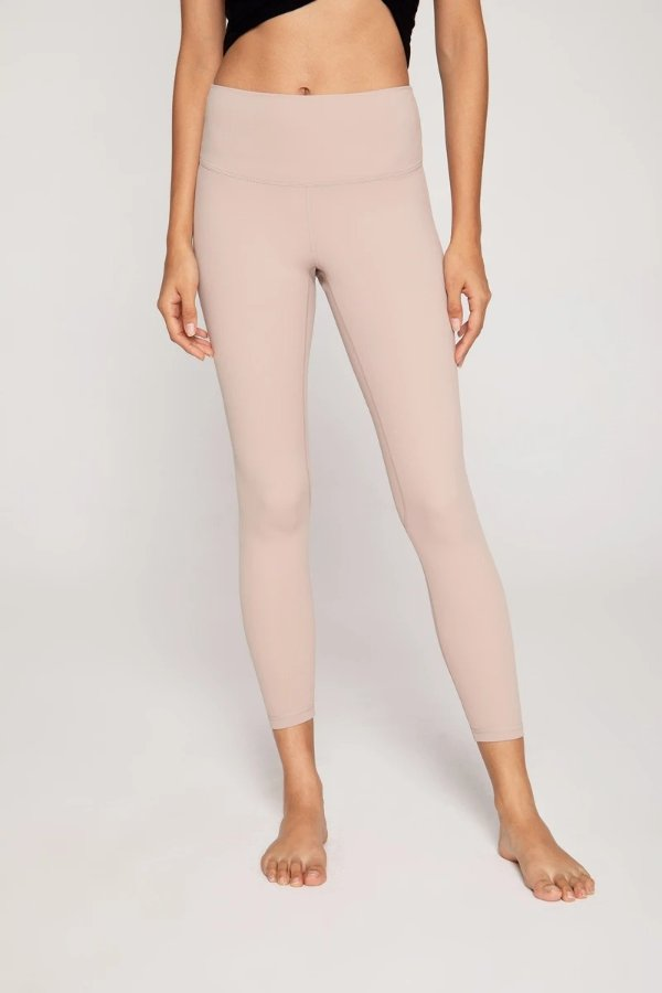 Streamlined High Waisted Workout Leggings in Beige