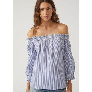 Striped Cotton Blouse for Women | Emporio Armani