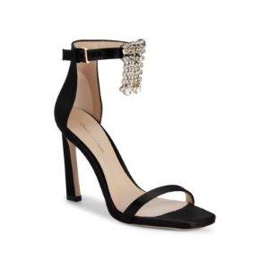 Stuart WeitzmanFringed Jewel Satin High-Heel Sandals