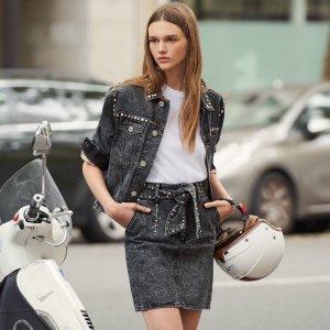 €147收封面超帅铆钉牛仔夹克Sandro 法国时尚女装 冬季大促 低至5折 收蕾丝洋装、毛衣外套等