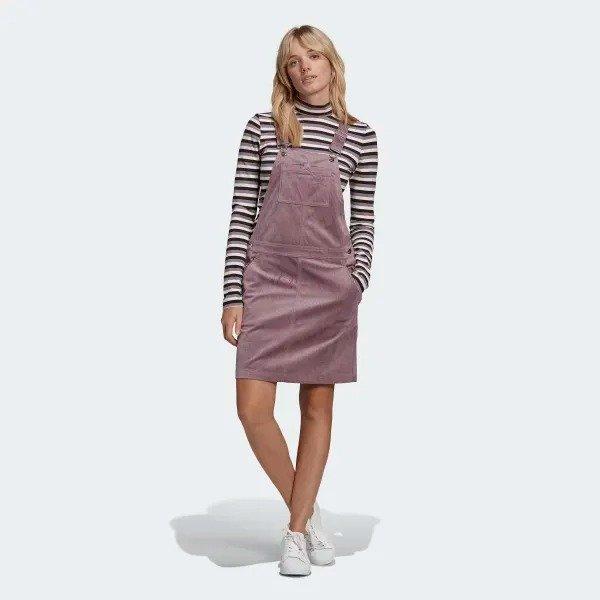 香芋紫灯芯绒背带裙