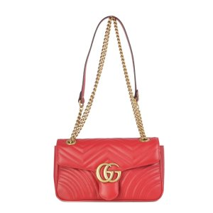GucciGg Marmont S Whit Flap, Brass Logo Gg On The Flap Chain And Strap Brass