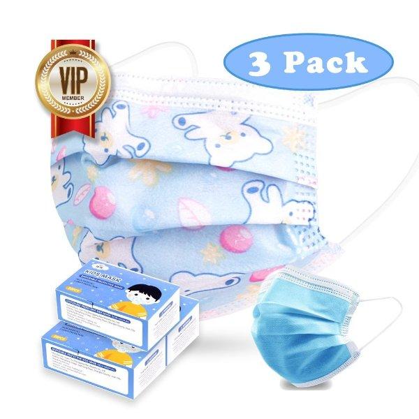 3盒儿童口罩(60只)+1盒成人口罩(50只)