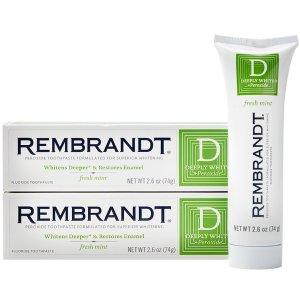 现价$3.34(原价$12.89)包邮Rembrandt 深层美白薄荷牙膏 2.6oz 2支