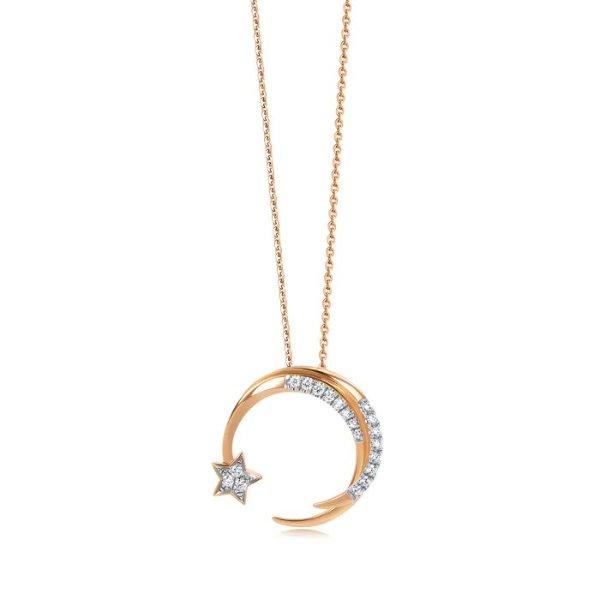 18k钻石星月项链