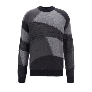 BOSS- Relaxed-fit knitted sweater with geometric intarsia