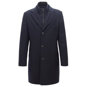 BOSSWool-cashmere coat with removable inner jacket