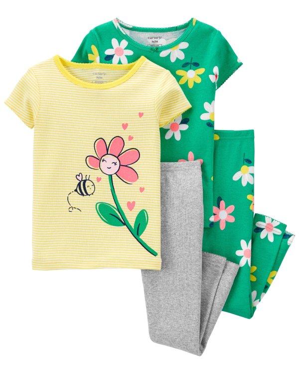 婴儿全棉紧身睡衣4件套