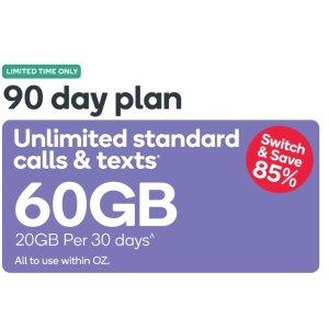 $14.9 (原价$99.9)无限通话Kogan Mobile 90天合约计划 60GB流量