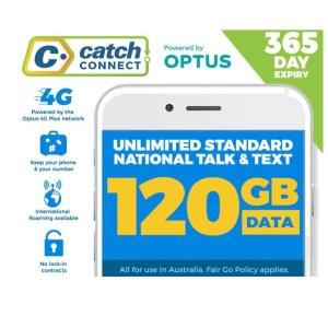 仅需$150 澳洲无限制通话Catch Connect 手机套餐 1年享120GB流量