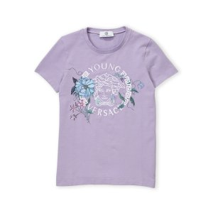 YOUNG VERSACE(Girls 7-16) Lilac Floral Embroidered Tee