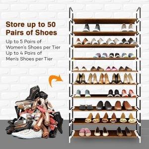 Sable 10 Tiers 50 Pairs Shoe Rack, Space Saving Shoe Organizer, Tower Shelf  Storage