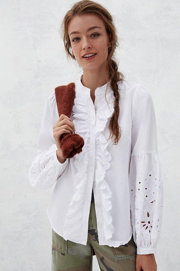 Rosana 荷叶边网眼衬衫