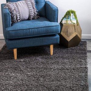 Unique Loom 纯色粗毛地毯 2' 0 x 3' 0