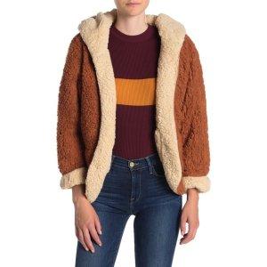 SWEET RAINReversible Faux Shearling Patch Pocket Hoodie Jacket