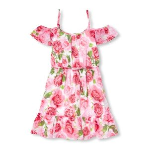 The Children's PlacePrice Drop!Girls Short Sleeve Floral Print Woven Off Shoulder Dress