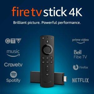 $54.99 (原价$69.99)Fire TV Stick 4K 智能语音电视串流棒