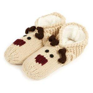 totes Ladies Novelty Hand Knit Footsie Slipper Socks