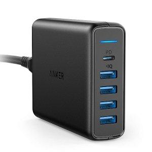 可以充苹果本 $34.99 (原价$55.99)史低价:Anker 60W 4*USB+1*USB-C 高级充电器