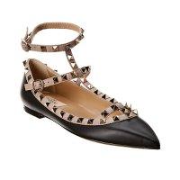 Valentino 经典铆钉黑色芭蕾鞋