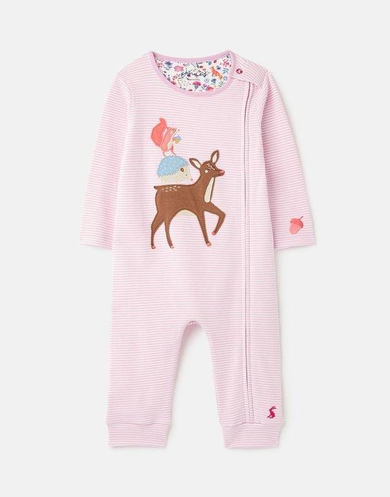婴儿有机棉贴布绣连体衣