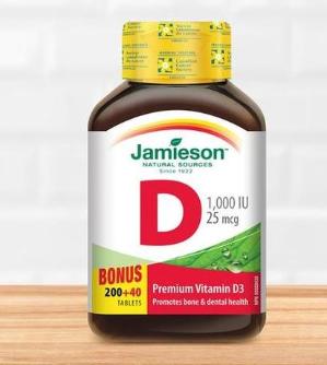 $3.79(原价$8.27)Jamieson 健美生1000 IU维生素D3 240粒