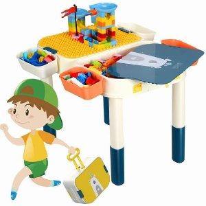$49.99(原价$79.99)牛年好礼:GPTOYS 多功能积木游戏桌套装 6合1 送60块积木