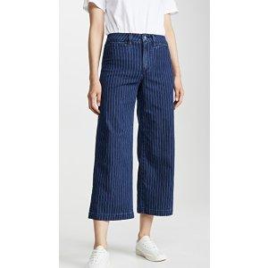 Joe's JeansThe HR Trouser 条纹阔腿牛仔裤