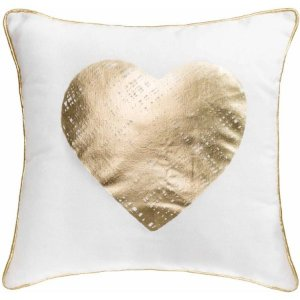 Better Homes and Gardens Gold Heart, Stylish Gold Foil Pillow with Binding