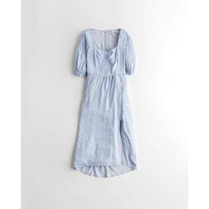 HollisterOpen-Back Puff-Sleeve Midi Dress