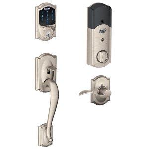 SchlageCamelot Satin Nickel Connect Smart Lock with Alarm and Accent Lever Handleset-BE469ZP V CAM619 + FE285 V CAM 619 ACC - The Home Depot